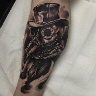 Plague Doctor Tattoo by Edgar Ivanov #PlagueDoctor #BlackandGrey #BlackandGreyRealism #BlackandGreyTattoos #PortraitTattoos #Realism #EdgarIvanov