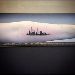 San Francisco skyline tattoo by East Iz. #skyscraper #landmark #skyline #silhouette #minimalist #subtle #simple #outline #microtattoo #sanfrancisco