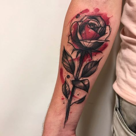 Tome aqui uma rosa #GustavoTakazone #brasil #brazil #brazilianartist #tatuadoresdobrasil #aquarela #watercolor #sketchstyle #estilorascunho #flor #flower #rosa #rose #pontilhismo #dotwork #folha #leaf