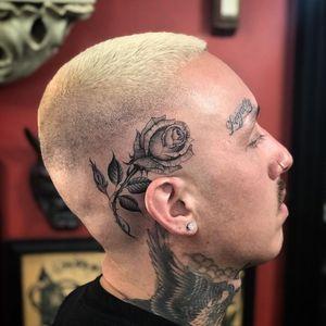 Rose tattoo by Big Steve #BigSteve #flowertattoos #blackandgrey #oldschool #chicano #rose #flower #floral #thorns #leaves #rosebud #nature