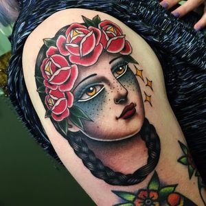 Flower Child Portrait by Danielle Rose #DanielleRose #color #traditional #ladyhead #lady #portrait #flowers #roses #leaves #nature #braid #stars #face #eyes #lips #tattoooftheday