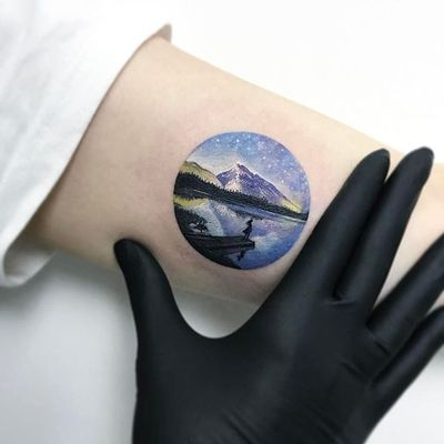 Lakes and mountains by Eva Krbdk (via IG-evakrbdk) #tinytattoo #color #microtattoo #scenery #movies #landscapes #evakrbdk