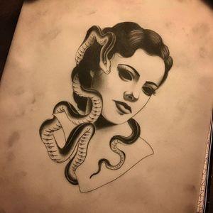 Eyeless snake charmer, by Slumdog Tattooer. (via IG—slumdog.tattooer) #SlumdogTattooer #Noire #Eyeless #Dark #ladyheads