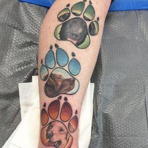 Trio of paw print and labrador pet portrait tattoos by Ben Reigle. #pawprint #paw #dog #labrador #petportrait #neotraditional #BenReigle