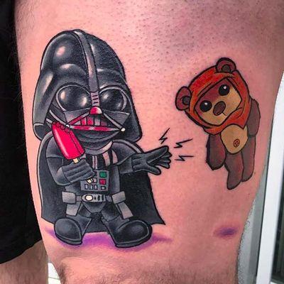 Funko Pop! Vader and Ewok by Ron Erick Olano (via IG -- cynereo) #RonErickOlano #darthvader #starwars #ewok #funko #funkotattoo #funkopop #funkopoptattoo