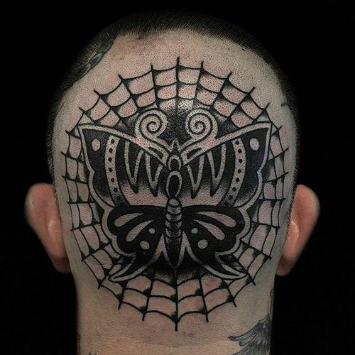Blackwork Butterfly Tattoo by Austin Maples #butterfly #head #scalp #blackwork #blackink #blackworkhead #jobstopper #boldwillhold #AustinMaples