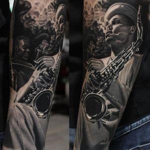 Jazz sleeve looking super jazzy, by Ryan Evans. (via IG—ryan_evans) #TattooRoundUp #Sleeves #Realism #Jazz #Saxophone #Smoking