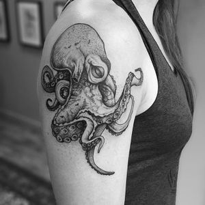 Dotwork Octopus Tattoo by TomTom Tattoos #dotwork #blackwork #octopus #TomTomTattoos