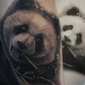 Panda tattoo by Jumilla Olivares #JumillaOlivares #blackandgrey #realistic #portrait #dark #panda