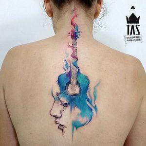 Guitar Tattoo by Rodrigo Tas #WatercolorTattoos #WatercolorTattoo #WatercolorArtists #Watercolor #Brazil #BrazilianTattooArtists #RodrigoTas #guitar