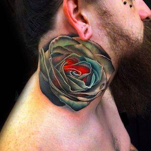 Rose Tattoo on neck by Andrés Acosta @Acostattoo #AndrésAcosta #Acostattoo #Rose #Rosetattoo #Rosetattoos #Austin #necktattoo