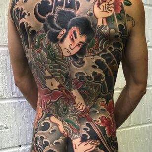 One of the 108 heroes from the Suidoken by Rodrigo Melo (IG—rodrigomelotattoo). #Irezumi #Japanese #largescale #RodrigoMelo #Suidoken #traditional