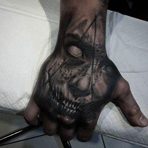 Creepy black and grey hand tattoo by Insamnia. #blackandgrey #realism #Insamnia #creepy #horror