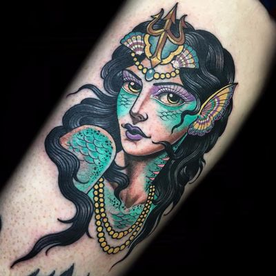 Princess of the sea by Xam the Spaniard #XamtheSpaniard #neotraditional #color #lady #pinup #mermaid #seacreature #ocean #crown #jewelry #pearls #fins #scales #tattoooftheday