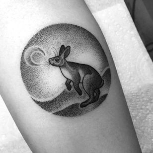 Rabbit and the moon, by Amy Savage. (via IG—amyvsavage) #amysavage #amyvsavage #animals #blackwork #dotwork