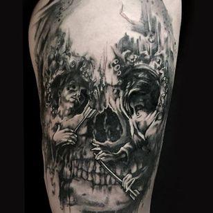 Illusion skull tattoo by Mirco Campioni #MircoCampioni #graphic #skull #opticalillusion