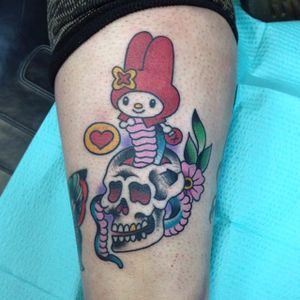 Sanrio tattoo by Dave Sedano. #sanrio #adorable #kawaii #cute #traditionalamerican