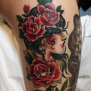 Lady of the roses by Mauricio Pastor #MauricioPastor #traditional #ladyhead #portrait #roses #rose #flowers #leaves #nature #jewelry #color #tattoooftheday