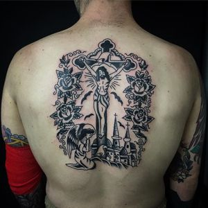Crucifix Tattoo by Sway Tattooer #crucifix #blackwork #traditionalcrucifix #oldschooltattoo #SwayTattooer