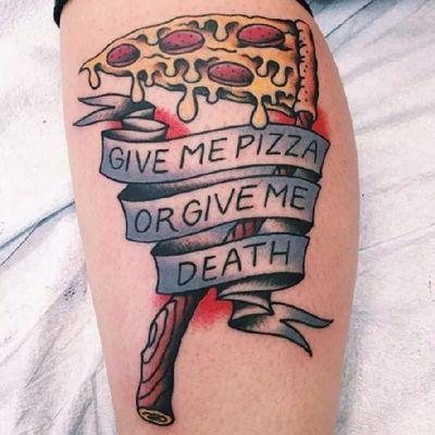 Me dê pizza ou me dê a morte #ChrisDavid #PizzaTattoo #pizzalovers #pizza #pizzaday #diadapizza #morte #death #foice