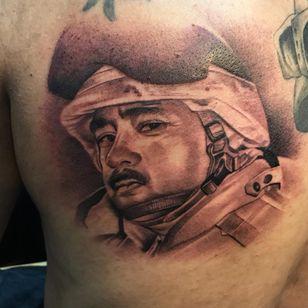 A portrait of a soldier by Nene. (Via IG - tat2nene) #nene #tat2nene #blackandgrey #portrait