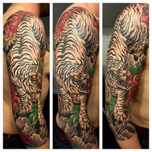 White tiger. By Chris O'Donnell. (via IG - codonnell_nyc) #TigerSleeve #JapaneseTiger #Tiger #Japanese #JapaneseTigerSleeve