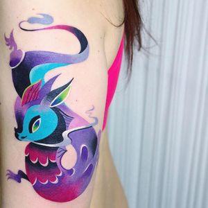 Psychedelic tattoo by Ann Lilya #AnnLilya #colorful #dragon #psychedelic