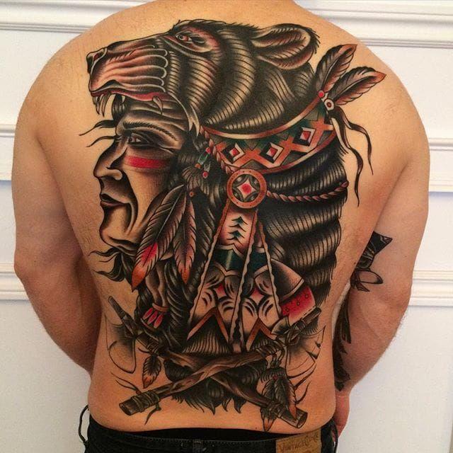 Native American Inspired Back Piece by Nick Oaks (via IG-nickoaks) #traditional #color #bear #nativeamerican #NickOaks