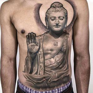 Compassionate Buddha by Lil B #lilb #lilbtattoo #blackwork #blackandgrey #dotwork #linework #portrait #Buddha #lotus #Buddhist #sun #tattoooftheday