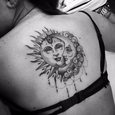 Sun and moon together at all by Flo Nuttall #flonuttall #fineline #linework #dotwork #moon #sun #ornamental #clouds #blackandgrey #blackwork #tattoooftheday