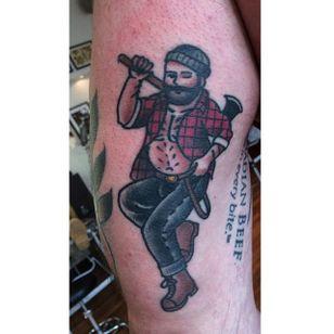 Big boy pin up tattoo by Jamie August. #JamieAugust #pinup #bigboypinup #man #pinupman #lumberjack #trad #traditional #traditionalamerican