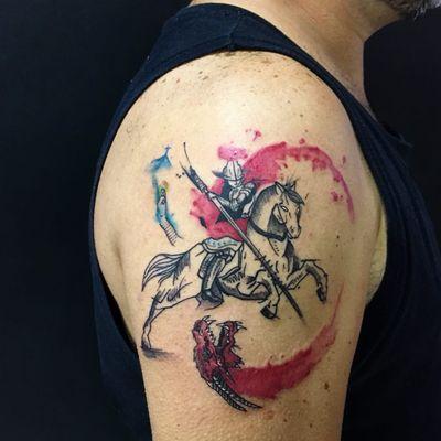 #ThiagoPinhas #tatuadoresdobrasil #traçofino #fineline #saojorge #ogum #santo #saint #religiosa #religious #dragao #dragon #warrior #guerreiro #lança #spear #cavalo #horse #aquarela #watercolor