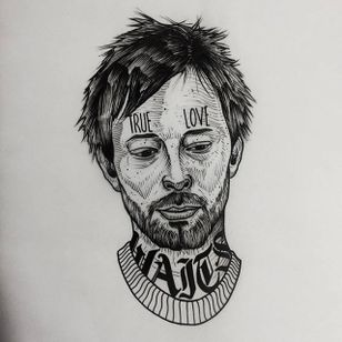 Thom Yorke of Radiohead. (via IG - daniel_kickflip_tattooer) #Portraits #Celebrities #Flash #Radiohead #ThomYorke