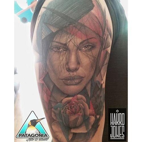 Angelina Jolie tattoo by Patagonia Art. #actress #AngelinaJolie #portrait #celebrity