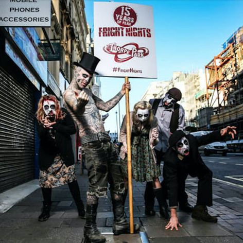 Zombie Boy surrounding by other zombies to promote Thorpe Park's Fright Nights in this photo by Casey Gutteridge. #heavilytattooed #model #photography #RickGenest #ZombieBoy