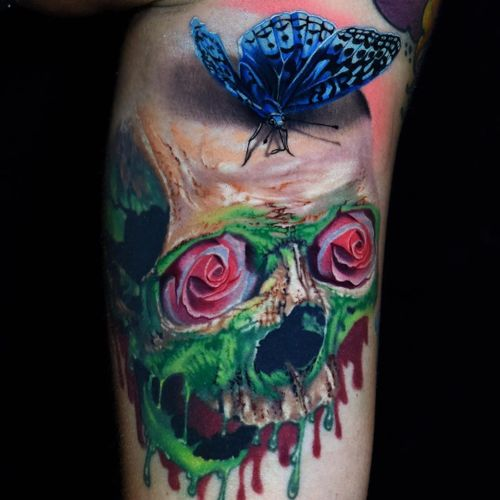 Skull and roses tattoo by Phil Garcia #PhilGarcia #rosetattoos #color #realism #realistic #hyperrealism #butterfly #insect #rose #flower #skull #nature #death #life #ooze #goo #monster #surreal #tattoooftheday