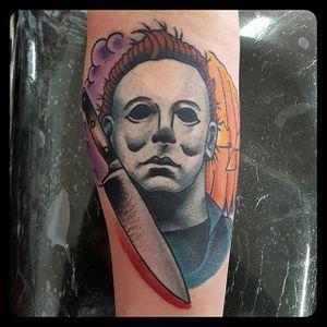 Michael Myers Tattoo by Oscar Montes #michaelmyers #michaelmyerstattoo #halloween #halloweenatattoo #horror #horrortattoo #OscarMontes