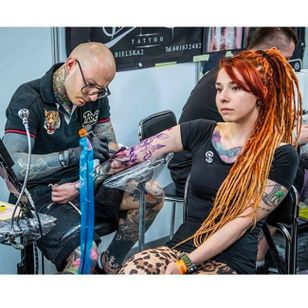 Photo by Kera Kerson of tattooist Bam Bam at work, taken from Instagram @tattoofestconvention #Krakow #TattooFest #Poland #BamBam