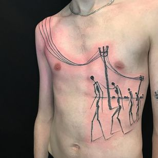 Minimal landscape tattoo by Servadio #Servadio #landscapetattoo #blackwork #linework #dotwork #minimal #abstract #illustrative #people #electricity #desert #surreal #houses #tattoooftheday