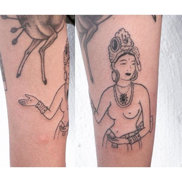 Hand poke lady tattoo by Tati Compton. #TatiCompton #handpoke #women #lady #fineline #linework