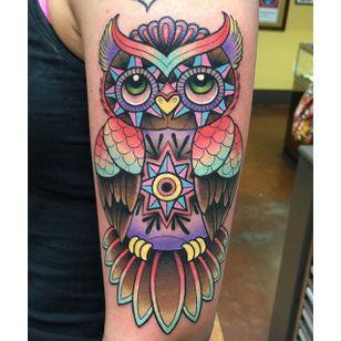 Owl Tattoo by Katie McGowan #Traditional #BoldTattoos #ColorfulTattoos #Colorful #KatieMcGowan