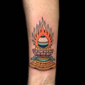 Tibetan Buddhist tattoo by Claudia de Sabe #ClaudiadeSabe #buddhisttattoos #color #Japanese #traditional #mashup #Tibetan #tibetanbuddhist #buddha #fire #lotus #banner #altar #shrine #symbol