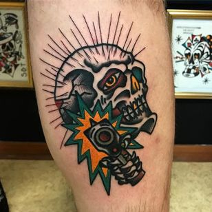 Skull Tattoo by Matt Andersson #skull #traditional #traditionalartist #oldschool #classic #boldwillhold #MattAndersson