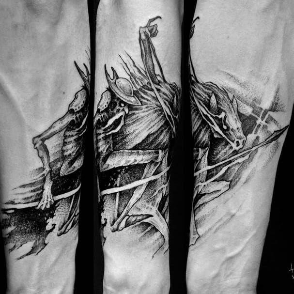Don Quixote tattoo by Sergei Titukh. #SergeiTitukh #blackwork #creepy #nightmare #creature #spooky #dark #monster #donquixote