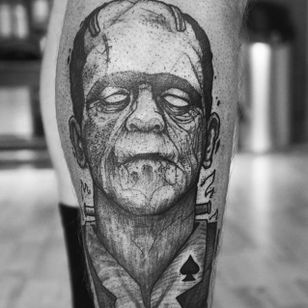 Frankenstein's monster tattoo by Ergo Nomik #ErgoNomik #blackwork #frankenstein