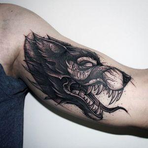 Sketch style wolf tattoo. #KatiBerinkey #sketch #wolf #blackwork #sketchtattoo #sketchstyletattoo
