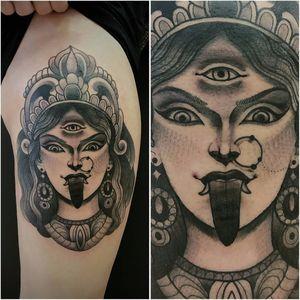 Deusa hindu Kali por Iva Gustincic! #ivagustincic #Kali #Cali #Kalitattoo #Calitattoo #hindu #hinduism #lingua #tongue