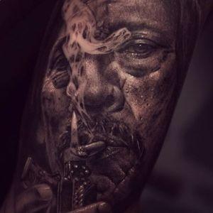 Danny Trejo portrait by Alexander D. West (IG—alexander_d_west). #AlexanderDWest #blackandgrey #DannyTrejo #portraiture