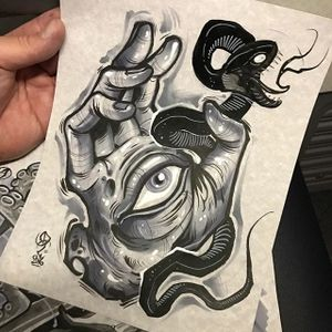A hand with an eyeball at its center by Dave Tevenal (IG—davetattoos). #artshare #blackandgrey #DaveTrevenal #drawings #eye #fineart #hand #illustrations #snake