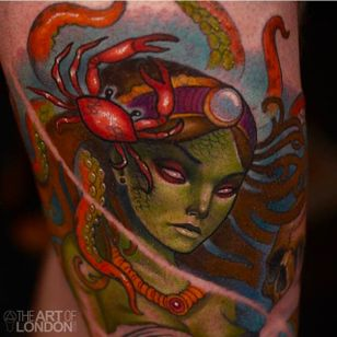 Awesome close up shot of a tattoo done by London Reese. #LondonReese #theartoflondon #coloredtattoo